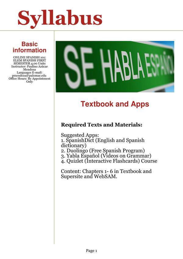 Profesor Mendoza: Spanish 101 Online - Edicion Especial - A